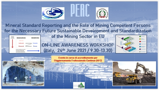 PERC on-line awareness workshop for the Italian National Council of Geologists – 24 June 2021